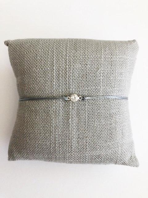 Itty Bitty CZ Silk Cord Bracelet - SILVER - grey