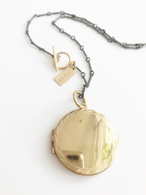 Etched GRACE Locket