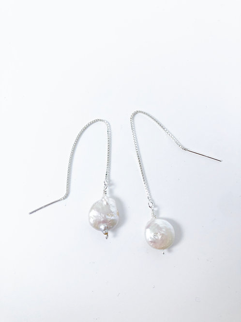 Coin Pearl Thread Earrings - Round/Sterling Silver #2