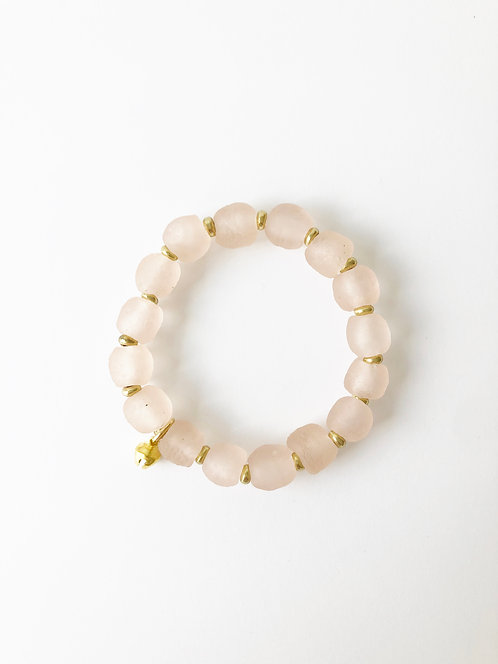 SHELL PINK Recycled Seaglass Stack On Elastic Bracelet