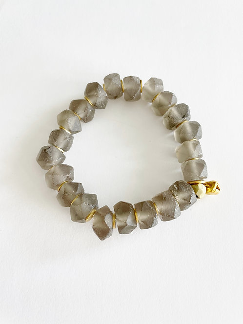 TAUPE Faceted Recycled Sea Glass Stack On Elastic Bracelet