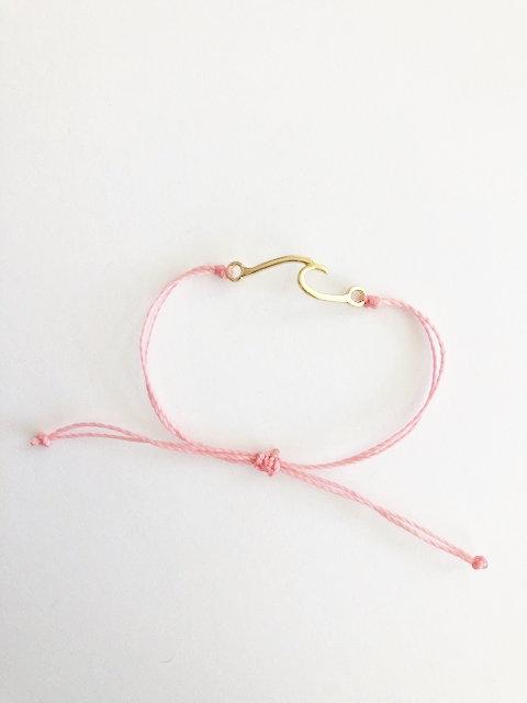 Marin Wave Bracelet -  GOLD - candy pink