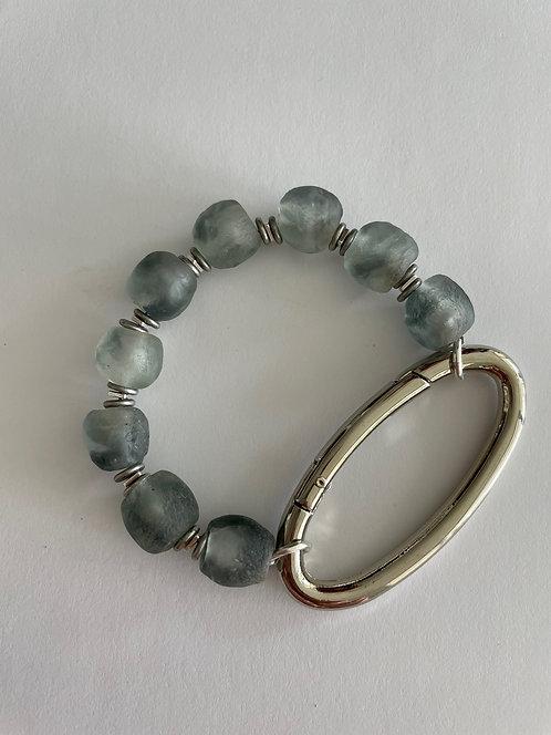 OCEAN Recycled Glass Silver Oval Bracelet