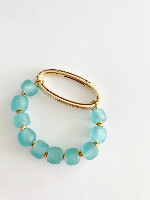 TURQUOISE Recycled  Sea Glass Gold Oval Bracelet