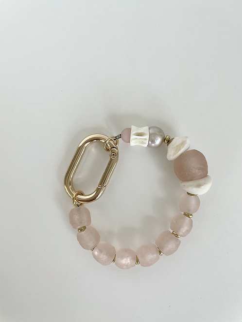 Elcectic Recycled Sea Glass & Pearl Mix Bracelet - Pink