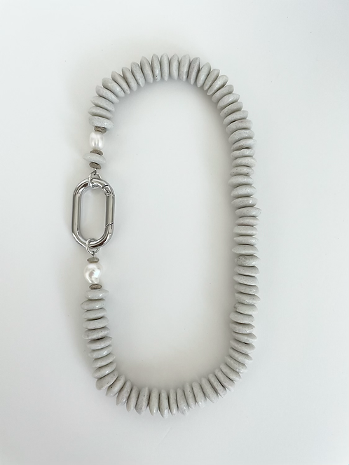 Recycled Sea Glass Necklace - Grey/White