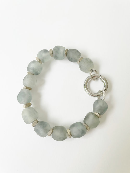 OCEAN Recycled Sea Glass Silver Clasp Bracelet