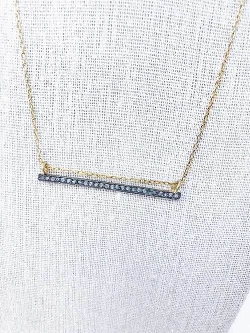 Raw Diamond Bar Necklace on Gold Chain