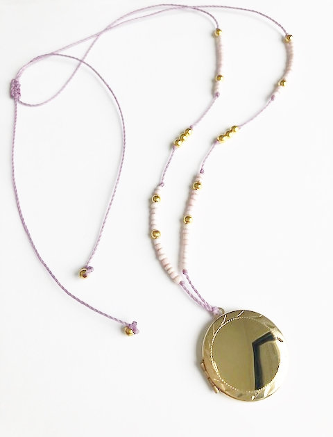 Gold Locket Loop Necklace