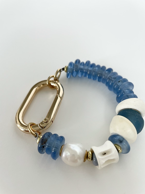 Elcectic Recycled Sea Glass & Pearl Mix Bracelet  - Blue