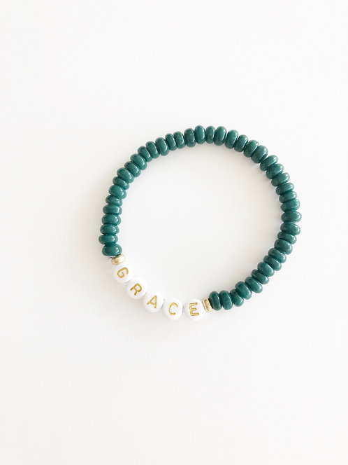 GRACE Glass Java Bead Bracelet - DARK AQUA