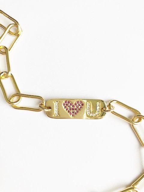 I Love You - chunky linked bracelet