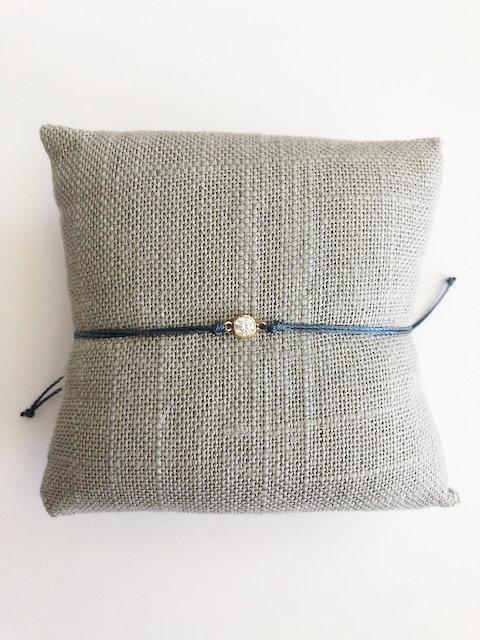 Itty Bitty CZ Silk Cord Bracelet - GOLD - blue