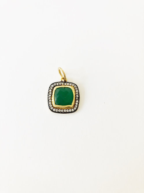 Jade and CZ Encrusted Square Pendant