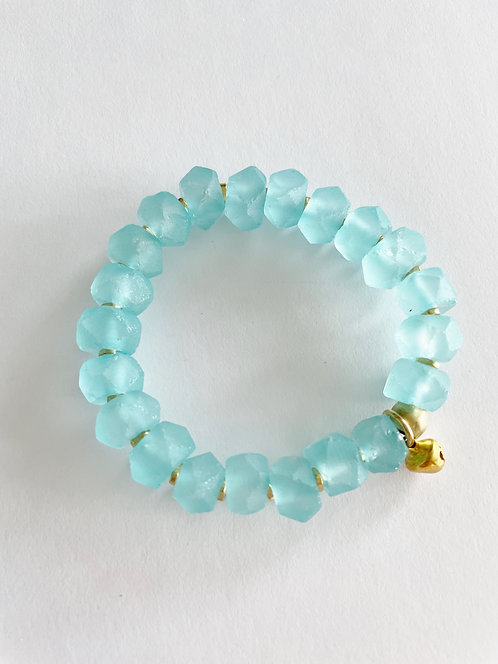 TURQUOISE Recycled Faceted Sea Glass & Gold Elastic Bracelet