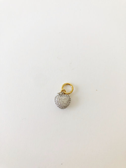 Small Mixed Metal Tiny CZ Heart Charm