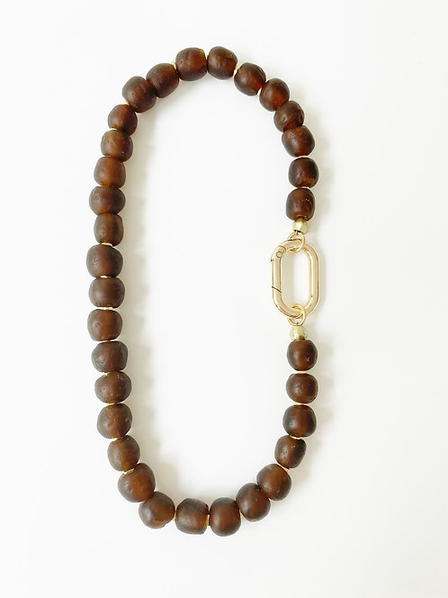DARK AMBER Recycled Sea Glass Necklace