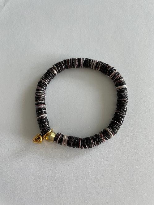 Mixed Crushed Shell Stack On Elastic Bracelet