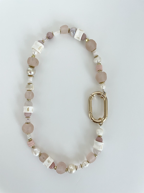 Elcectic Recycled Sea Glass & Pearl Mix Necklace  - Pink