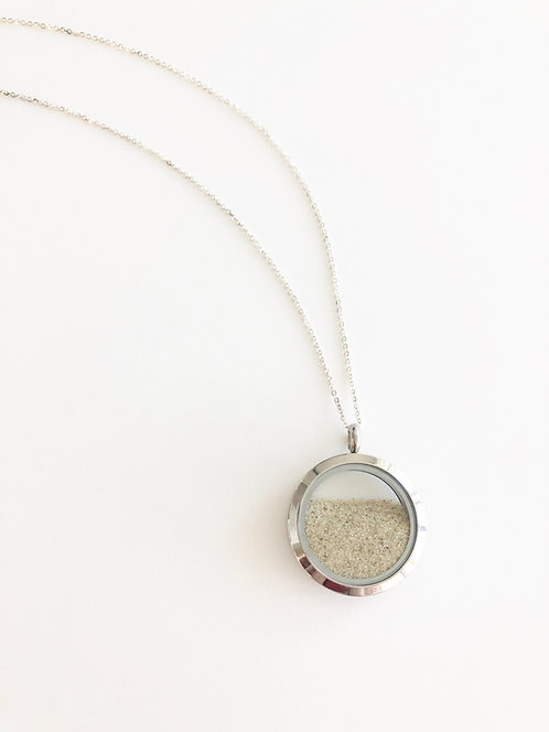 SILVER Florida Beach Sand Glass Locket