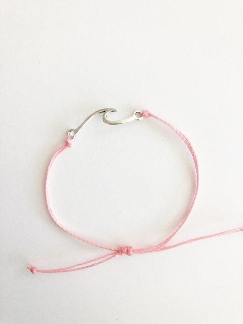 Marin Wave Bracelet - SILVER - candy pink