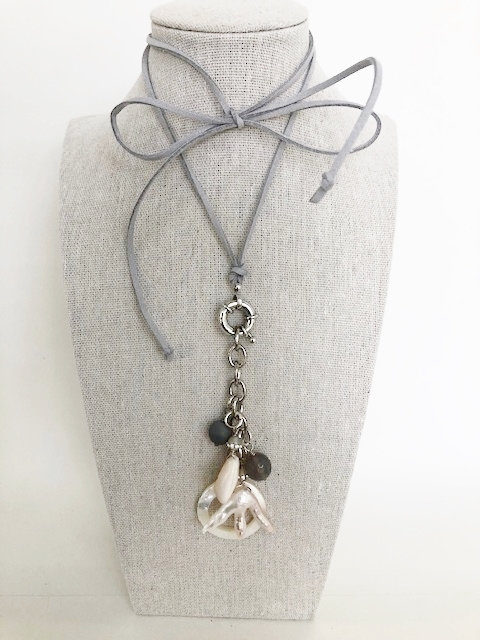 Multi Shell Cluster Tie On Necklace