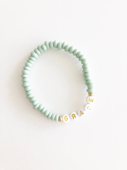 GRACE Glass Java Bead Bracelet - SEAFOAM