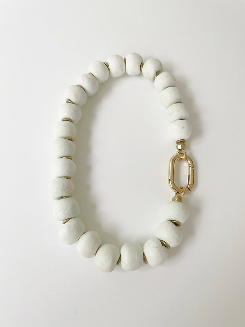 Chunky Recycled Sea Glass Necklace - White