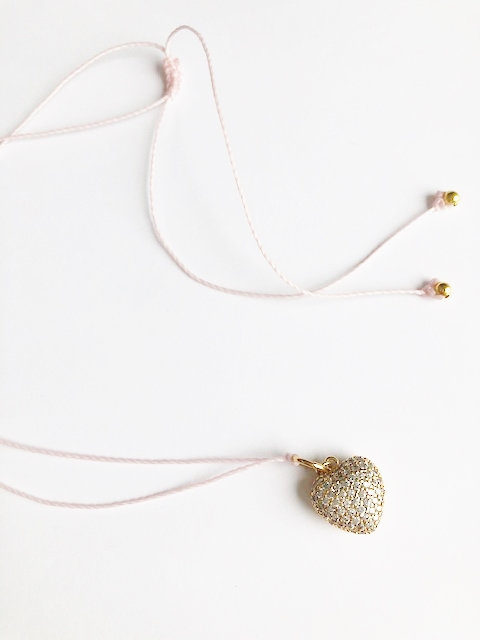 Large Pave Heart Loop Necklace