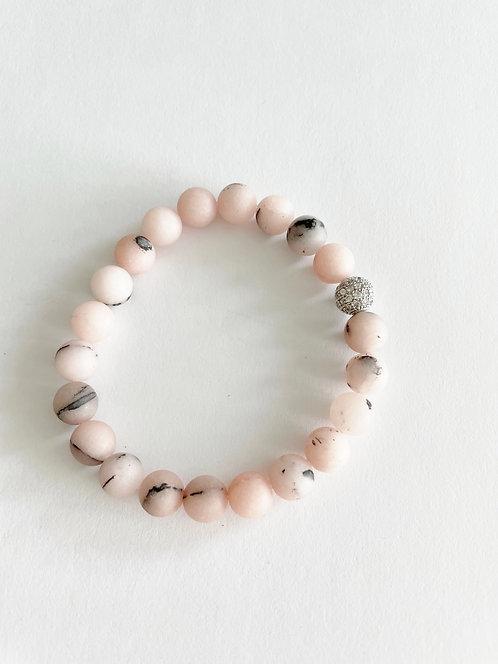 PINK Agate & Silver Stack On Elastic Bracelet