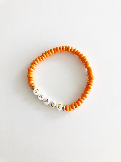 GRACE Glass Java Bead Bracelet - TANGERINE