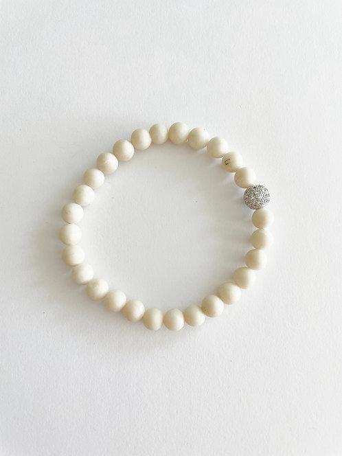 Agate & Silver Stack On Elastic Bracelet