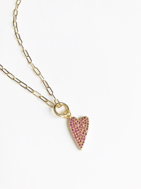 Off Set Pave Pink Heart
