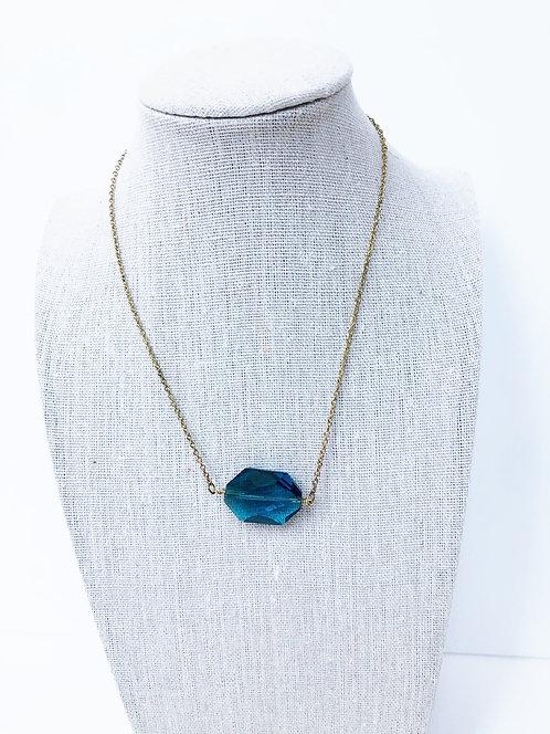 Vintage Cut Glass Pendant Necklace - Teal