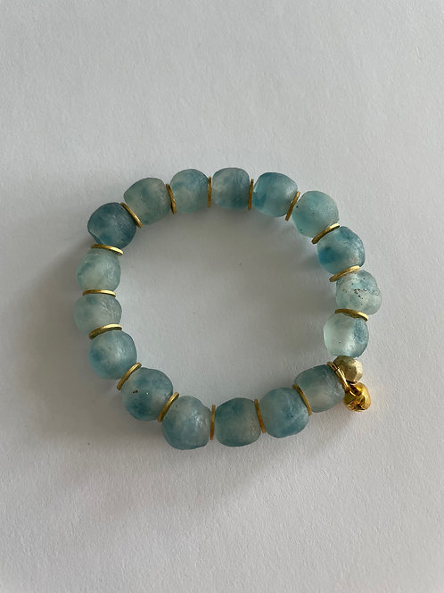 SPECKLED TURQUOISE Recycled Sea Glass & Gold Elastic Bracelet