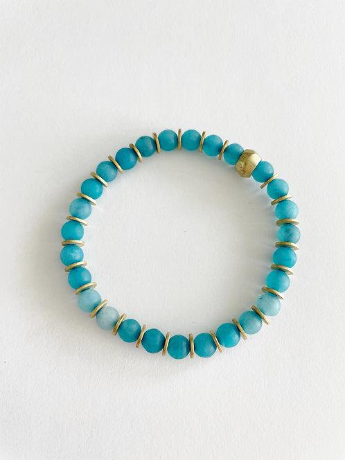 TURQUOISE & Gold Jade Stack On Elastic Bracelet