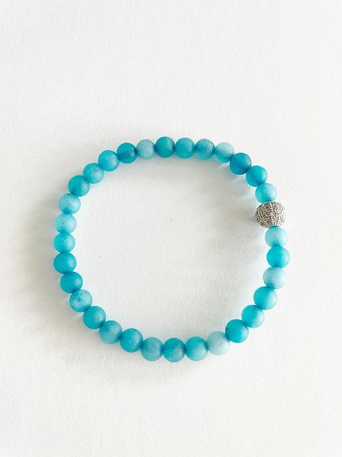 TURQUOISE & Silver Jade Stack On Elastic Bracelet