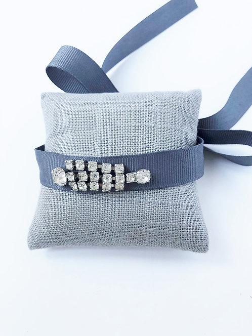 Vintage Rhinestone Ribbon Wrap Bracelet - Grey