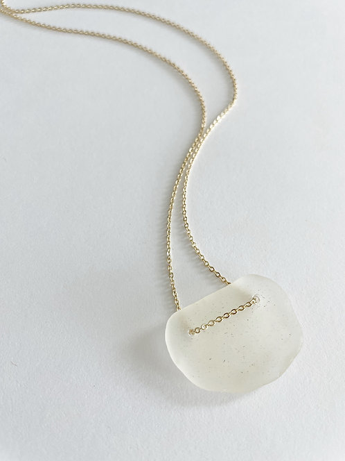 WHITE #2 Beach Glass Lace Up Necklace - Gold