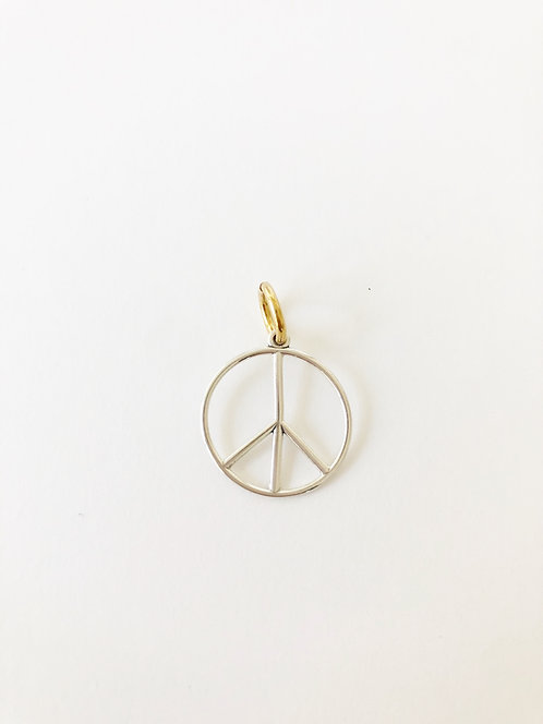 Sterling Silver Round Open Peace Charm