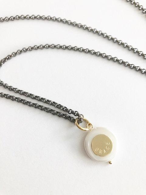 Pearl GRACE Pendant - GUNMETAL