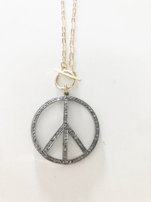 Large Peace Black Diamond Pendant Necklace