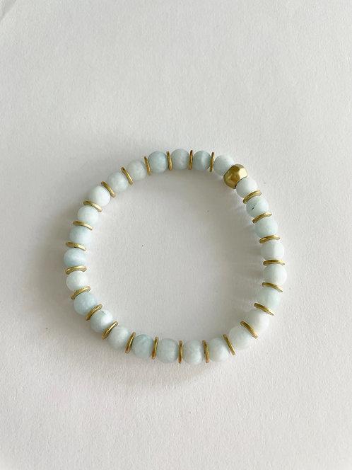 SEAMFOAM Agate & Gold Stack On Elastic Bracelet