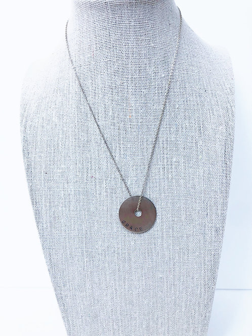 Brushed Silver GRACE Disc Pendant Necklace