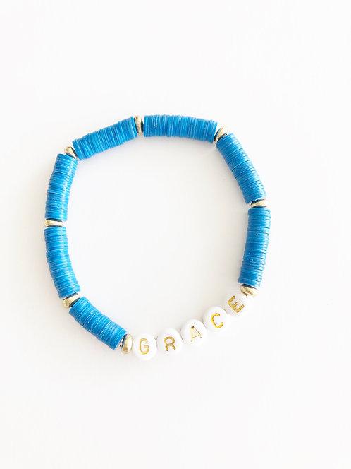 GRACE Vinyl Disc Elastic Bracelet - ELECTRIC BLUE