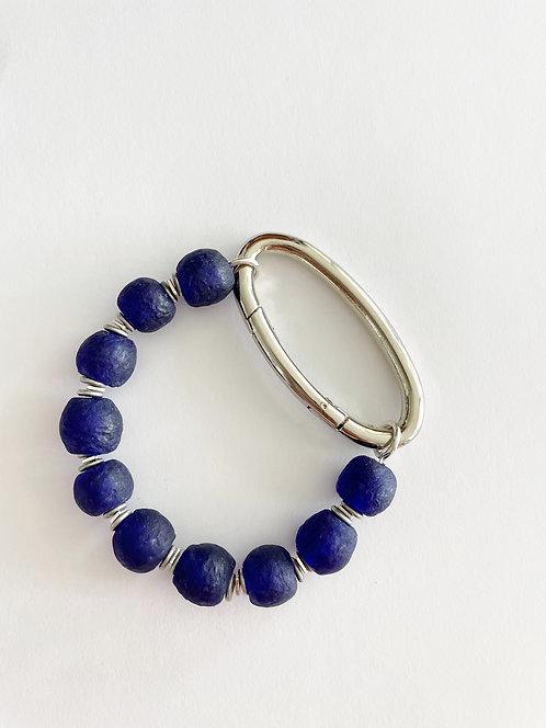 DEEP MARINE Recycled Sea Glass Silver Oval Bracelet