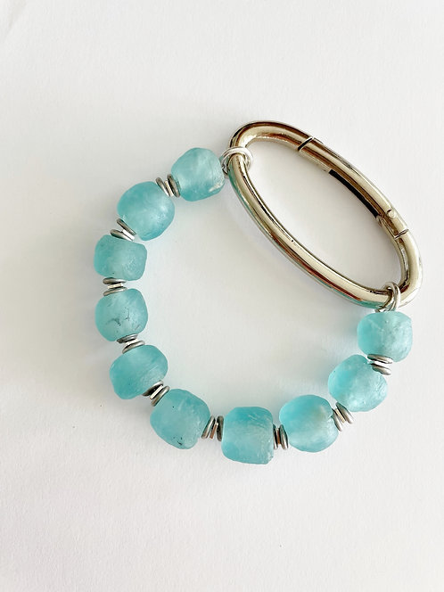 TURQUOISE Recycled  Sea Glass Silver Oval Bracelet