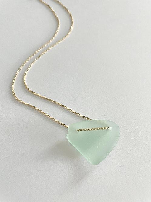 SEAMFOAM #1 Beach Glass Lace Up Necklace - Gold