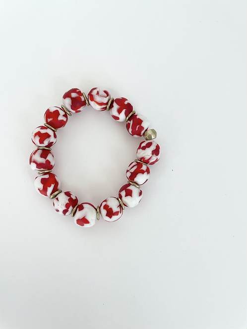 RED & WHITE SPECKLED Recycled Sea Glass Elastic Stack On Bracelet