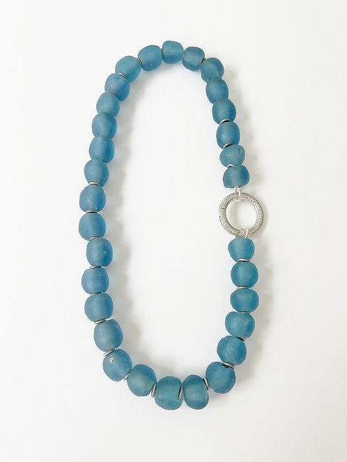 OCEAN Recycled Sea Glass Necklace - Silver Clasp